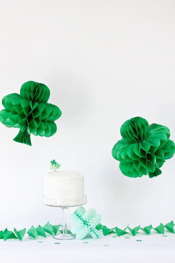 """<p>There isn't much that says """"party!"""" more than honeycomb balls—especially if they're shaped like shamrocks. </p><p><strong>Get the tutorial at Studio <a href=""""https://studiodiy.com/diy-shamrock-honeycombs/"""" rel=""""nofollow noopener"""" target=""""_blank"""" data-ylk=""""slk:Studio DIY"""" class=""""link rapid-noclick-resp"""">Studio DIY</a>.</strong></p><p><a class=""""link rapid-noclick-resp"""" href=""""https://go.redirectingat.com?id=74968X1596630&url=https%3A%2F%2Fwww.walmart.com%2Fsearch%2F%3Fquery%3Dgreen%2Bhoneycomb%2Bballs&sref=https%3A%2F%2Fwww.thepioneerwoman.com%2Fhome-lifestyle%2Fcrafts-diy%2Fg34931626%2Fst-patricks-day-decorations%2F"""" rel=""""nofollow noopener"""" target=""""_blank"""" data-ylk=""""slk:SHOP HONEYCOMB BALLS"""">SHOP HONEYCOMB BALLS</a><br></p>"""