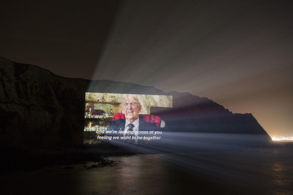 Handout photo issued by Led By Donkeys of ex World War Two veteran Sid talking about the prospect of Brexit being projected onto the side of the White Cliffs of Dover. PA Photo. Picture date: Friday January 31, 2020. It comes ahead of the UK leaving the European Union at 11pm on Friday. See PA story POLITICS Brexit Cliffs. Photo credit should read: Led By Donkeys/PA Wire  NOTE TO EDITORS: This handout photo may only be used in for editorial reporting purposes for the contemporaneous illustration of events, things or the people in the image or facts mentioned in the caption. Reuse of the picture may require further permission from the copyright holder.