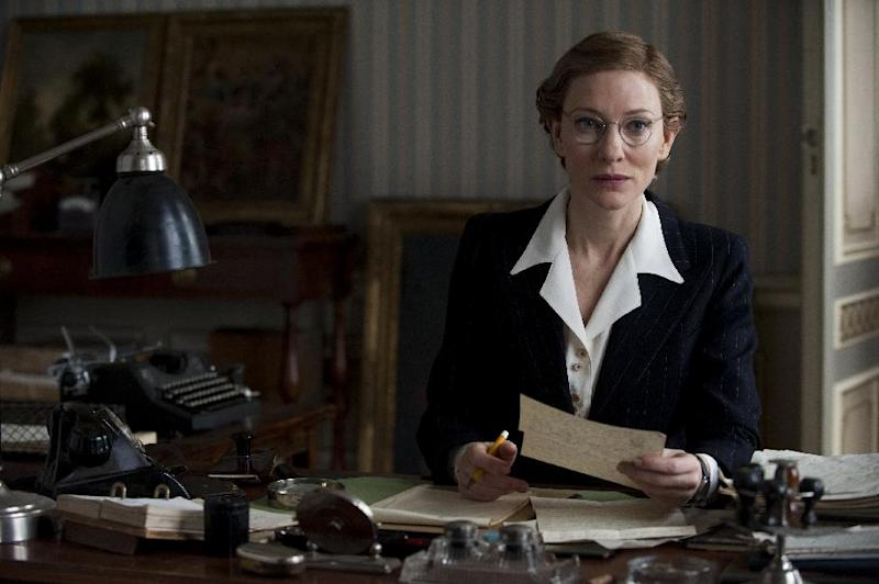 """This image released by Columbia Pictures shows Cate Blanchett in """"The Monuments Men."""" The World War II drama directed by George Clooney opens Friday, Feb 7, 2014, and also stars Clooney, Matt Damon, John Goodman and Bill Murray. The story is about a World War II platoon whose mission is to rescue artworks from the Nazis. (AP Photo/Columbia Pictures, Claudette Barius)"""