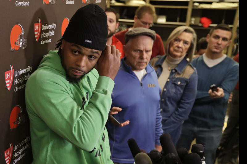 Cleveland Browns outside linebacker Christian Kirksey speaks to the media at the NFL football team's training camp facility, Monday, Dec. 30, 2019, in Berea, Ohio. Head coach Freddie Kitchens was dismissed shortly after the Browns returned to team headquarters following a 33-23 loss to the lowly Cincinnati Bengals. (AP Photo/Tony Dejak)