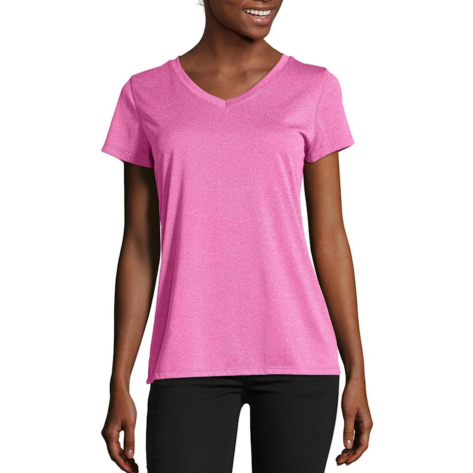 """<p>Stay cool and look cute in this <a href=""""https://www.popsugar.com/buy/Hanes-Sport-Heathered-Performance-V-Neck-Tee-490604?p_name=Hanes%20Sport%20Heathered%20Performance%20V-Neck%20Tee&retailer=walmart.com&pid=490604&price=5&evar1=fit%3Aus&evar9=45889663&evar98=https%3A%2F%2Fwww.popsugar.com%2Ffitness%2Fphoto-gallery%2F45889663%2Fimage%2F46615523%2FHanes-Sport-Heathered-Performance-V-Neck-Tee&list1=shopping%2Cworkout%20clothes%2Cwalmart%2Cfitness%20gear%2Cfitness%20shopping&prop13=api&pdata=1"""" rel=""""nofollow"""" data-shoppable-link=""""1"""" target=""""_blank"""" class=""""ga-track"""" data-ga-category=""""Related"""" data-ga-label=""""https://www.walmart.com/ip/Hanes-Sport-Women-s-Heathered-Performance-V-Neck-Tee/52491436?athcpid=52491436&amp;athpgid=athenaItemPage&amp;athcgid=collection&amp;athznid=47210833_collection&amp;athieid=v0&amp;athstid=CS020&amp;athguid=ade24568-3a7-16d27cdba736c6&amp;athancid=null&amp;athena=true"""" data-ga-action=""""In-Line Links"""">Hanes Sport Heathered Performance V-Neck Tee</a> ($5-$10).</p>"""