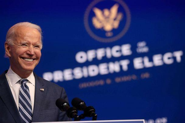 PHOTO: President-elect Joe Biden smiles as he speaks about health care and the Affordable Care Act at the theater serving as his transition headquarters in Wilmington, Del., Nov. 10, 2020. (Jonathan Ernst/Reuters)