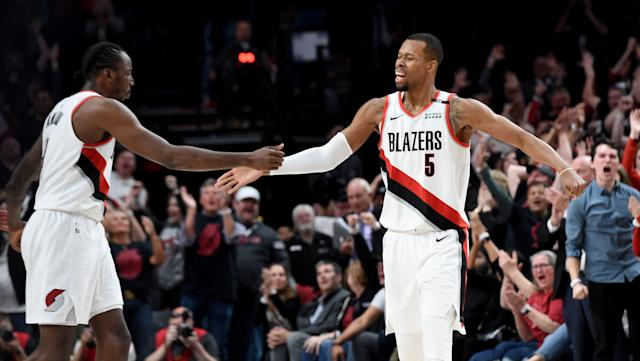 The Nuggets and Blazers became the first NBA playoff game in 65 years to go to quadruple overtime. Back in 1953, the NBA was a totally different place. (Steve Dykes/Getty Images)