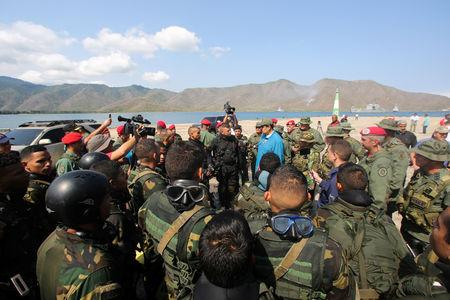 Venezuela's President Nicolas Maduro speaks to soldiers while he attends a military exercise in Turiamo, Venezuela February 3, 2019. Miraflores Palace/Handout via REUTERS