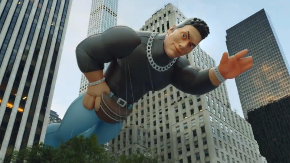 Dwayne Johnson depicted as a Macy's Parade float to promote his new show 'Young Rock'. (Credit: NBC)