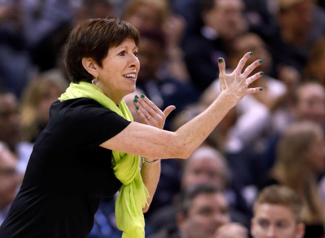 FILE - In this Sunday, April 1, 2018 file photo, Notre Dame head coach Muffet McGraw is seen on the sidelines during the first half against Mississippi State in the final of the women's NCAA Final Four college basketball tournament in Columbus, Ohio. Its been a busy few months for Muffet McGraw and her Notre Dame Fighting Irish after they won the national championship in April on a last-second shot by Arike Ogunbowale. There were award ceremonies, a trip to the ESPYs and Ogunbowales appearance on Dancing with the Stars. Now with the season beginning in a little over a week, the Irish are focused on the new task at hand and not concerned with defending the title. (AP Photo/Ron Schwane, File)