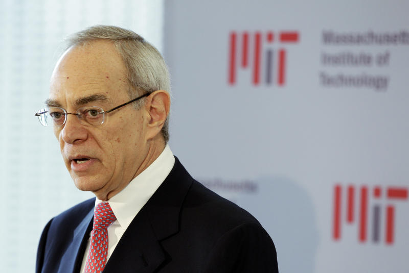 """FILE - In this May 16, 2012, file photo, L. Rafael Reif addresses a news conference after he was announced as the 17th president of the Massachusetts Institute of Technology in Cambridge, Mass. Disgraced financier Jeffrey Epstein donated more than $700,000 to the Massachusetts Institute of Technology and visited campus at least nine times after being convicted of sex crimes in 2008, according to new findings from a law firm hired to investigate Epstein's ties with the elite school. MIT President L. Rafael Reif called the findings """"a sharp reminder of human fallibility and its consequences."""" (AP Photo/Stephan Savoia, File)"""