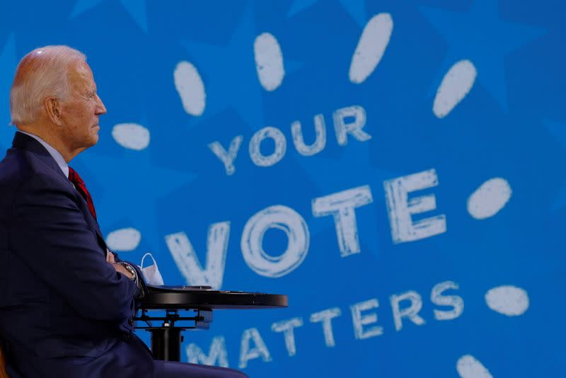 Democratic U.S. presidential nominee Biden takes part in a virtual event with Oprah in Wilmington