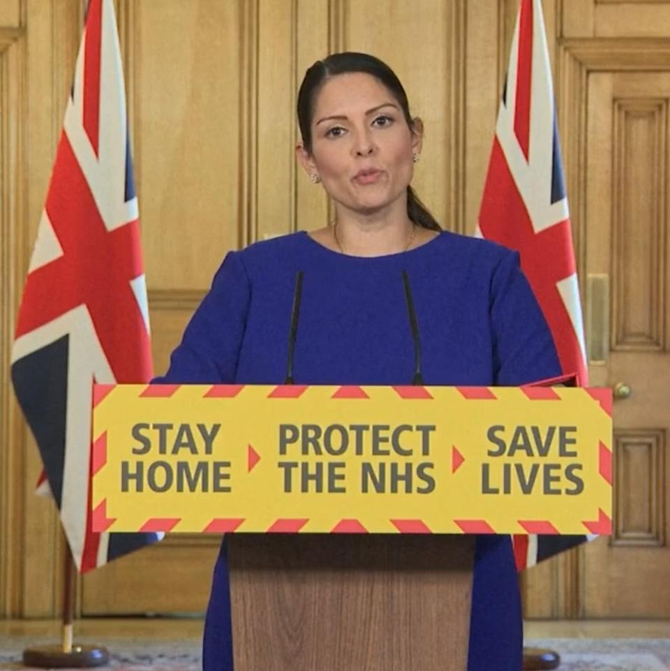 Screen grab of Home Secretary Priti Patel during a media briefing in Downing Street, London, on coronavirus (COVID-19). (Photo by PA Video/PA Images via Getty Images)