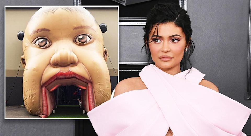 Kylie Jenner held a first birthday for Stormi Webster which involved a giant inflatable baby's head. [Photo: Getty/Instagram]