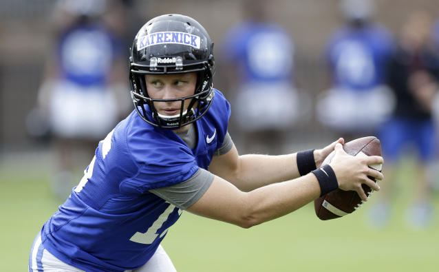 This photo taken Friday, Aug. 2, 2019, shows Duke quarterback Chris Katrenick during an NCAA college football practice in Durham, N.C. (AP Photo/Gerry Broome)