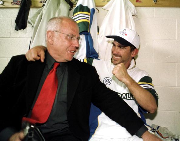 22 Nov 1999:  Australian batsman Justin Langer (right) is congratulated by father Colin Langer after securing victory for Australia on day five of the Second test between Australia and Pakistan at Bellerive Oval, Hobart, Australia.  Langer had earlier shared a partnership of  238 runs with Adam Gilchrist as Australia snatched victory by four wickets. Langer scored 129 runs and was named man of the match. Mandatory Credit: Jack Atley/ALLSPORT