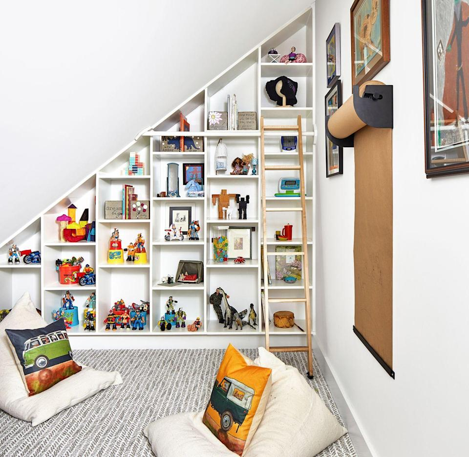 <p>If your children have a dedicated room for tackling homework and enjoying downtime after school, outfit it with floor-to-ceiling shelving. Display a mix of their favorite toys (don't forget to sprinkle in a few educational ones) and books to make it a fun place to hang out. </p>