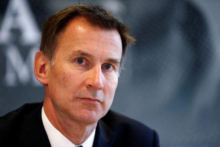 FILE PHOTO: Britain's Foreign Secretary Jeremy Hunt attends a news conference on media freedom as part of the G7 Foreign Ministers' meeting in Dinard