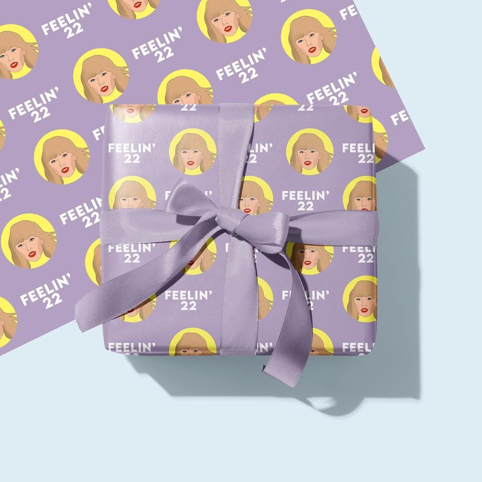 <p>The <span>Taylor Swift Gift Wrap</span> ($3) will excite them before they even open their gift. </p>