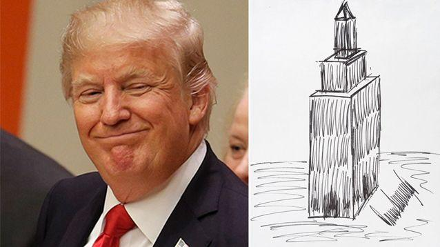 President Donald Trump's 1995 sketch of the Empire State Building sold for US$16,000. Source: AP