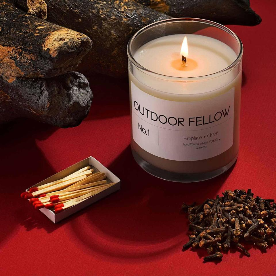 """<h3>Outdoor Fellow No. 1 Fireplace + Clove Candle</h3><br>Reviewers claim that this hand-poured, coconut-wax candle with notes of black pepper, cedarwood, and clove is reminiscent of a cozy-warm night during the cold-weather months. <br><br><strong>Outdoor Fellow</strong> No.1 Fireplace + Clove, $, available at <a href=""""https://go.skimresources.com/?id=30283X879131&url=https%3A%2F%2Foutdoorfellow.com%2Fproducts%2Ffireplace-clove"""" rel=""""nofollow noopener"""" target=""""_blank"""" data-ylk=""""slk:Outdoor Fellow"""" class=""""link rapid-noclick-resp"""">Outdoor Fellow</a>"""