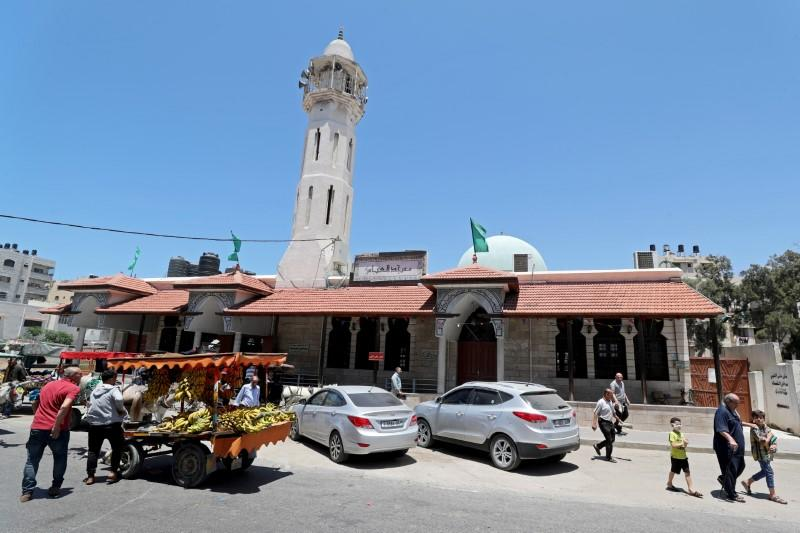 Mosques reopen as Palestinians ease COVID-19 restrictions, in Gaza City