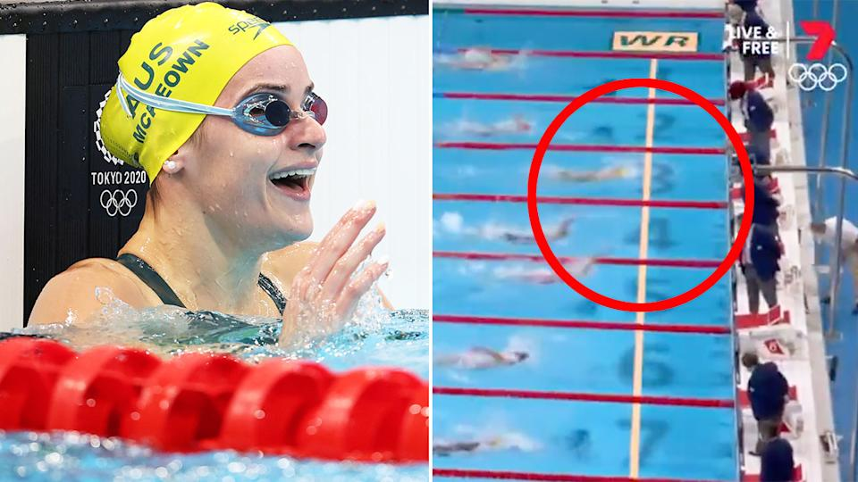 Pictured here, Kaylee McKeown reacts after claiming gold in the 100m backstroke.