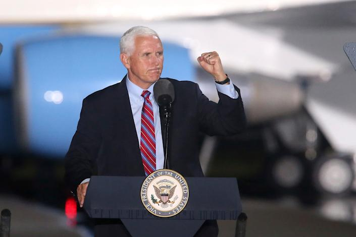Vice-president Mike Pence addresses supporters at a campaign rally Saturday, Oct. 24, 2020, in Tallahassee, Fla.