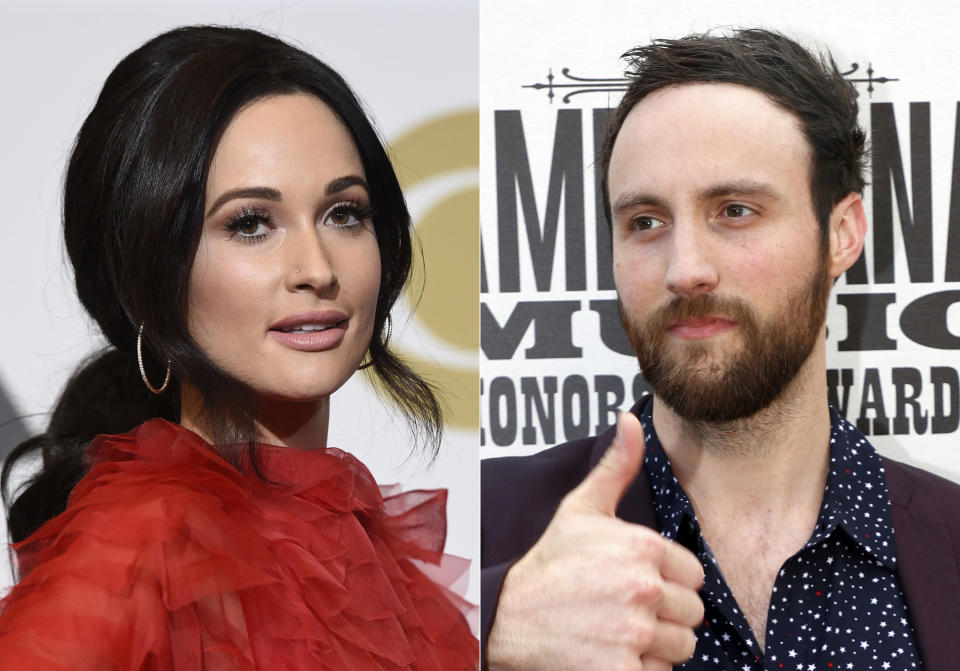 "Kacey Musgraves, winner of the awards for best country album for ""Golden Hour"", best country song for ""Space Cowboy"", best country solo performance for ""Butterflies"" and album of the year for ""Golden Hour"" poses in the press room at the 61st annual Grammy Awards in Los Angeles on Feb. 10, 2019, left, and Ruston Kelly arrives at the Americana Honors & Awards show in Nashville, Tenn. on Sept. 11, 2019. Musgraves and Kelly have filed for divorce. In a joint statement, Musgraves and Kelly said ""we've made this painful decision together."" Musgraves and Kelly, both 31, were married in 2017. (AP Photo/Wade Payne, File)"