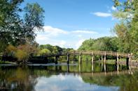 """<p><strong>35 minutes from Boston</strong></p> <p>This famed Revolutionary War city is known for more than just its battles. <a href=""""https://www.mass.gov/locations/walden-pond-state-reservation"""" rel=""""nofollow noopener"""" target=""""_blank"""" data-ylk=""""slk:Walden Pond"""" class=""""link rapid-noclick-resp"""">Walden Pond</a>, where Henry David Thoreau sought solace from the world, is a kettle hole pond here that was formed by retreating glaciers. Visitors can swim, hike, and boat at Walden and, when restrictions ease, visit the Thoreau House Replica to see how the author lived. Built in 1885 and recently reopened to guests, the <a href=""""https://cna.st/affiliate-link/WHvUKwsURK2Vm8hnqtb3MnA61BEzaM3JwN5vXrsebs3zZSCjowtrHf9bbTsuuXhZ3QZNuUFFyGW9VAJm579dUnbTHAEmuo3Dy1gDzXBU6zMfH8RPuQwUBjfu2LbLxG3iLTYjAnjJHKH4beaojC54Ld?cid=60a6aa199829a1042aa76462"""" rel=""""nofollow noopener"""" target=""""_blank"""" data-ylk=""""slk:North Bridge Inn"""" class=""""link rapid-noclick-resp"""">North Bridge Inn</a> (<em>rooms from $250 per night</em>), with its six suites, is within walking distance to Concord's <a href=""""https://www.nps.gov/places/concord-monument-square-in-the-concord-monument-square-lexington-road-historic-district.htm"""" rel=""""nofollow noopener"""" target=""""_blank"""" data-ylk=""""slk:Monument Square"""" class=""""link rapid-noclick-resp"""">Monument Square</a>, and to restaurants like the critically acclaimed <a href=""""https://www.80thoreau.com/"""" rel=""""nofollow noopener"""" target=""""_blank"""" data-ylk=""""slk:80 Thoreau"""" class=""""link rapid-noclick-resp"""">80 Thoreau</a>.</p>"""