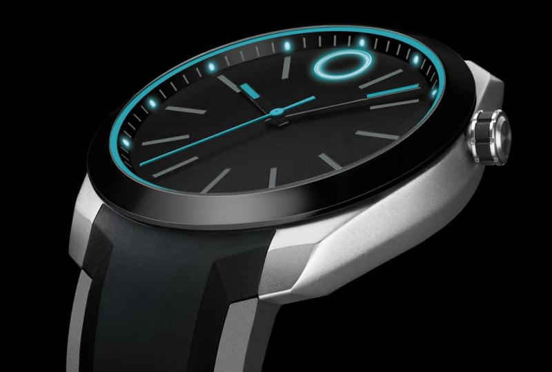 Modern-looking watch with glowing blue analog face and silver and black casing.