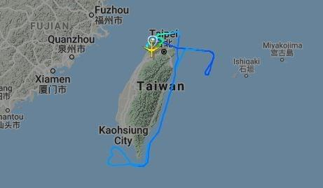 The route taken by the Hello Kitty service - Flightradar24
