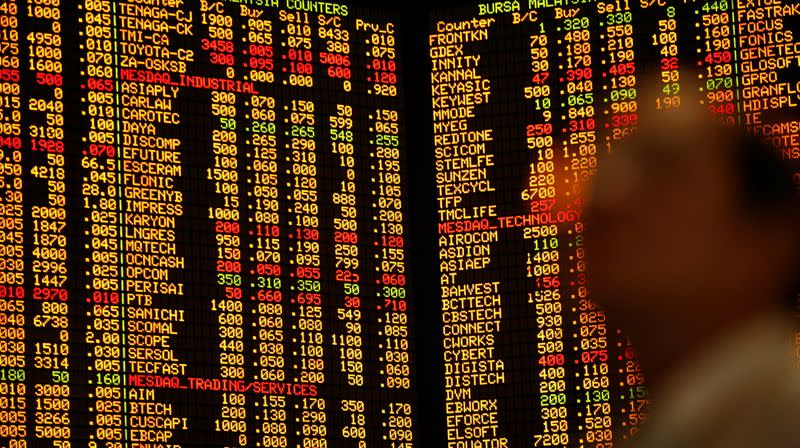 FILE PHOTO: An investor monitors share market prices in Kuala Lumpur