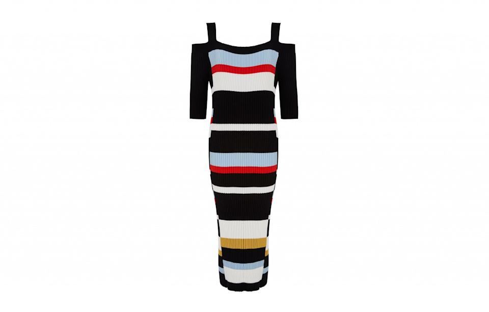 """<p>The cold shoulder trend is showing no signs of slowing down. So why not get onboard with this knitted stripy dress? Figure hugging it may be but this style is flattering for all body types.<br><a rel=""""nofollow noopener"""" href=""""http://www.marksandspencer.com/striped-cold-shoulder-shift-dress/p/p22509831?image=SD_01_T42_6118_F4_X_EC_90&color=NAVYMIX&prevPage=plp&pdpredirect"""" target=""""_blank"""" data-ylk=""""slk:M&S, £39.50"""" class=""""link rapid-noclick-resp""""><i>M&S, £39.50</i></a> </p>"""