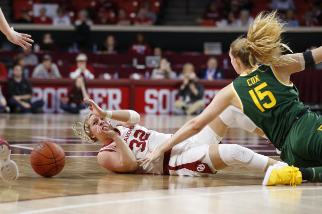 Oklahoma guard Tatum Veitenheimer (32) and Baylor forward Lauren Cox (15) fall as they chase the ball in the second half of an NCAA college basketball game in Norman, Okla., Saturday, Jan. 4, 2020. (AP Photo/Sue Ogrocki)