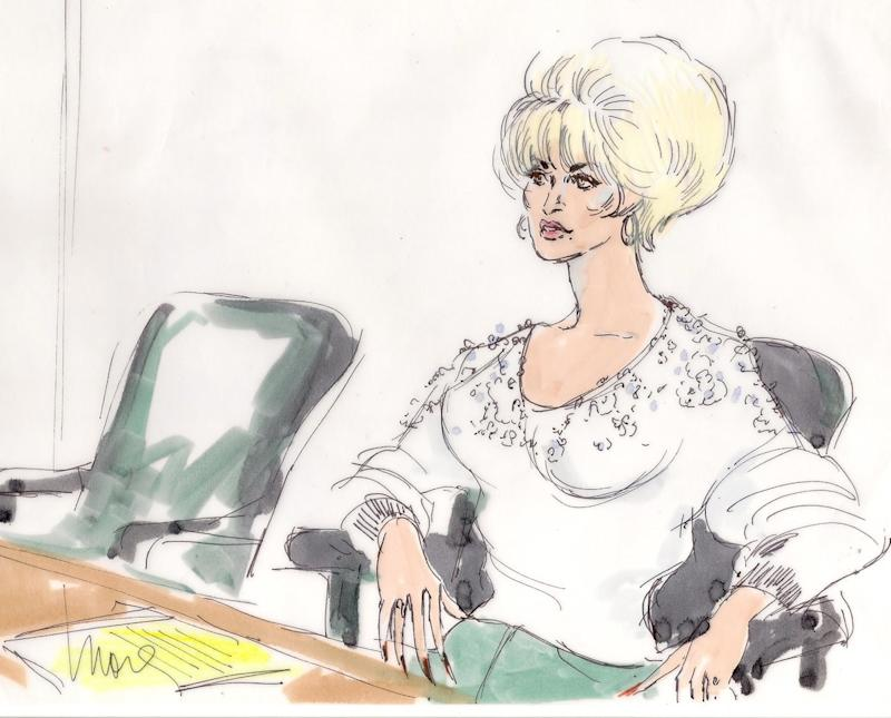 """Hidden from Edwards's depiction of an at-ease Dolly Parton at her 1985 trial for charges she'd copied much of her hit """"9 to 5"""" is not only the fact that the singer was wearing stilettos, but also that she told Edwards she loved her drawings in the bathroom—and even wrote her a check to purchase one before heading into the stall."""