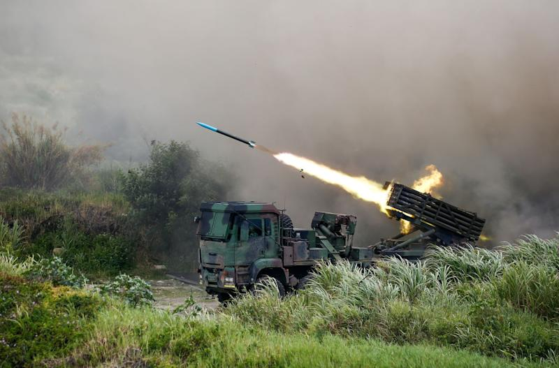 Photo shows a rocket launcher firing munitions during military exercise in Taiwan.