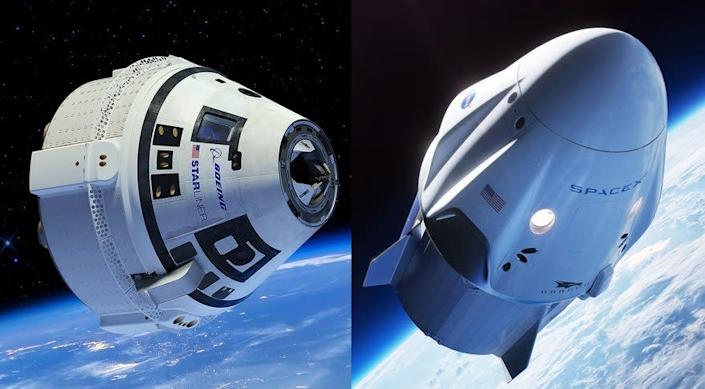 Artist's illustrations of Boeing's CST-100 Starliner (left) and SpaceX's Crew Dragon capsules in orbit. <cite>Boeing/SpaceX</cite>
