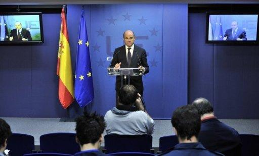 Spanish Finance Minister Luis De Guindos gives a press conference on Tuesday following an ECOFIN meeting