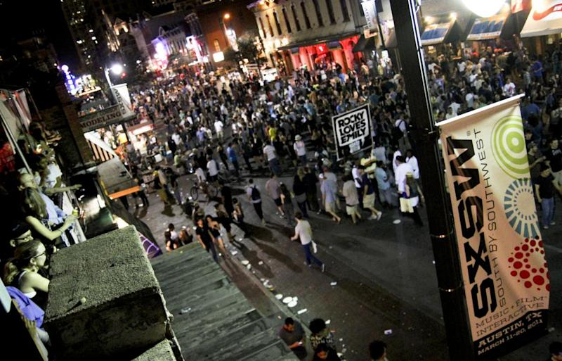 The crowds at night on 6th Street during SXSW 2011 in Austin, Texas.