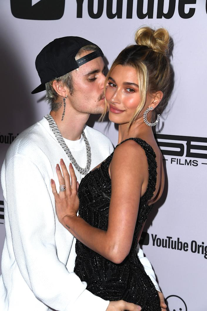 "Justin Bieber and Hailey Bieber attends the premiere of YouTube Originals' ""Justin Bieber: Seasons"" at Regency Bruin Theatre on January 27, 2020 in Los Angeles, California. (Photo by Steve Granitz/WireImage)"