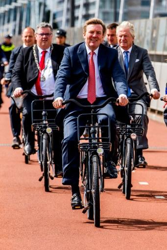 Dutch King Willem-Alexander on a bicycle at the opening of the International Bicycle Congress 'Velo-City 2017'