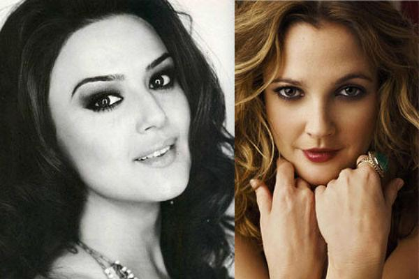 <b>Preity Zinta & Drew Barrymore: </b><br>Blessed with adorable dimples and the same fun and bubbly personality they sure look like sisters.