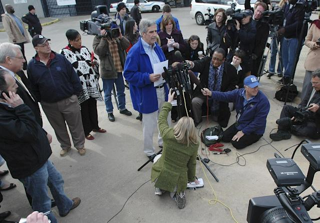 Terry Thornton, senior VP of Carnival Cruise Lines addresses the media outside the Alabama Cruise Terminal in Mobile, Ala. on Thursday, Feb. 14, 2013. After days stranded in the Gulf of Mexico in conditions some have described as dismal, most passengers aboard the disabled Carnival Triumph can look forward to a two-hour bus ride Thursday after they reach dry land. (AP Photo/Jay Reeves)