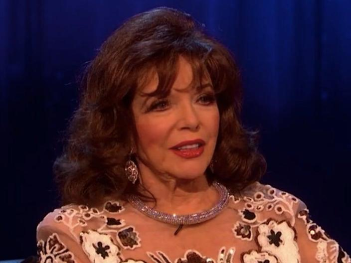 Dame Joan Collins, 88, refused to answer a question about Harry and Meghan on 'Piers Morgan's Life Stories' (ITV Hub)