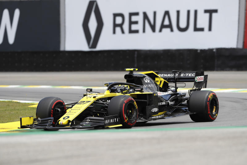 Renault driver Nico Hulkenberg, of Germany, competes during the third free practice session for the Formula One Brazil Grand Prix auto race at the Interlagos race track in Sao Paulo, Brazil, Saturday, Nov. 16, 2019. (AP Photo/Nelson Antoine)