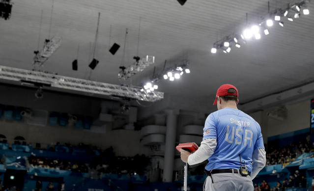 United States's skip John Shuster stands in the ice during the men's final curling match against Sweden at the 2018 Winter Olympics in Gangneung, South Korea, Saturday, Feb. 24, 2018. (AP Photo/Natacha Pisarenko)