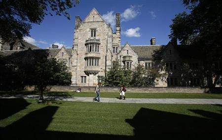 Students walk on the campus of Yale University in New Haven, Connecticut