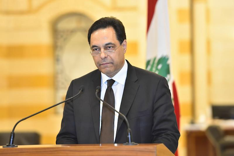 Lebanese Prime Minister Hassan Diab holds a press conference to announce his resignation. Source: Lebanese Presidency / Handout/Anadolu Agency via Getty Images