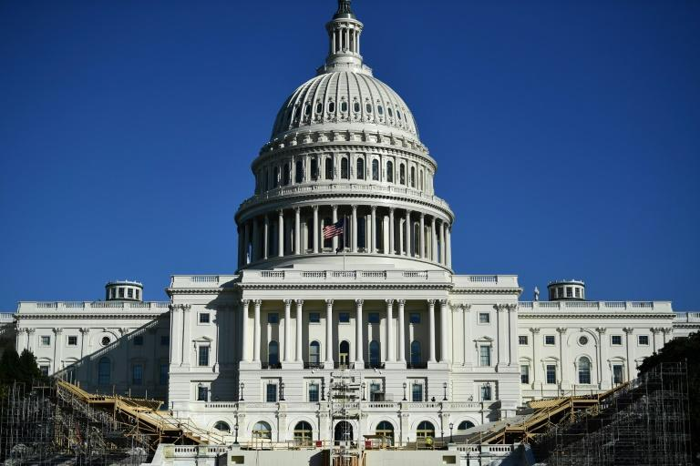 The presidential inaugural platform under construction in front of the US Capitol in November 2020