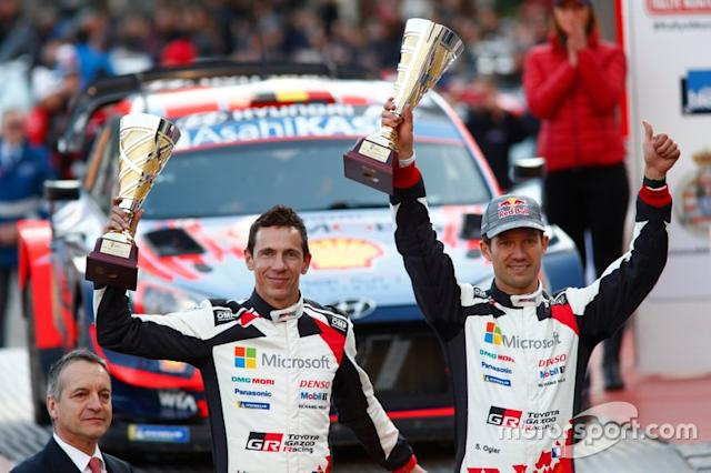 "Podio: secondo classificato Sébastien Ogier, Julien Ingrassia, Toyota Gazoo Racing WRT Toyota Yaris WRC <span class=""copyright"">Toyota Racing</span>"