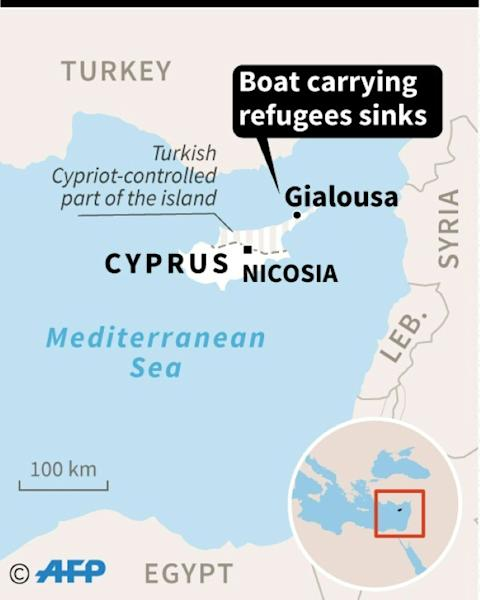 Map locating the site of a migrant accident off the coast of Cyprus