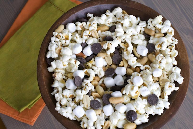 In this image taken on Jan. 28, 2013, the recipe for Stovetop Popcorn Many Ways with mini marshmallows, chocolate chips and salted peanuts is shown in Concord, N.H. (AP Photo/Matthew Mead)