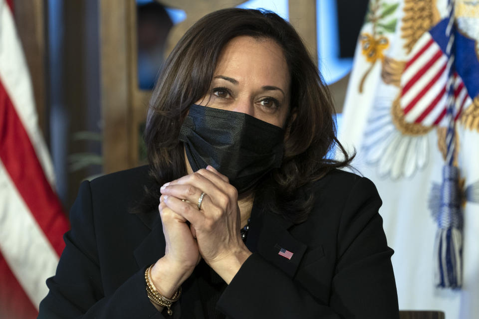 Vice President Kamala Harris, listens to small business owners at Maria Empanada, Tuesday March 16, 2021, in Denver. (AP Photo/Jacquelyn Martin)